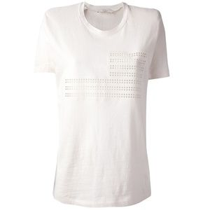 IRO Leanel White Perforated Cutout Flag Tee